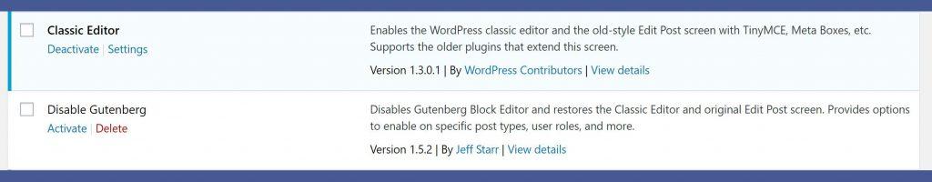 disable wordpress gutenberg editor